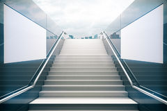 White stairs with dull sky. Empty white stairs in pedestrian subway with dull sky. 3D Render Royalty Free Stock Photo