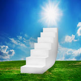 White stairs on the field stock photos