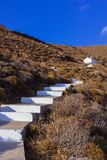 White stairs that lead to a little chapel on the mountain.  Royalty Free Stock Photos