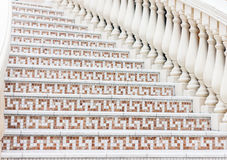 White stairs with mosaic tile with balusters. Abstract architecture interior fragment Stock Photo