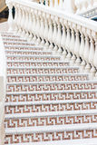 White stairs with mosaic tile with balusters. Abstract architecture interior fragment Royalty Free Stock Image