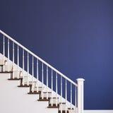White stairway. White classic stairway. 3d render stock illustration