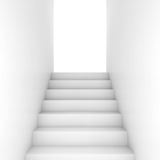 White stairway goes up to glowing door. White stairway goes up to the open glowing door, abstract empty interior background, front view, 3d illustration Royalty Free Stock Photos