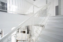 White stairway inside expensive house Royalty Free Stock Photography