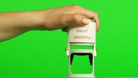White stamp drop shipping. Close up. Green screen stock video
