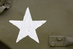 White star. Detail on wwii jeep stock image