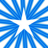 White Star. An abstract illustration of a white star on a background of radiating blue lines stock illustration