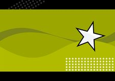 White star and green waves. A illustration of green waves with a star on the right center and a field of stars in the lower right. There is a black top and royalty free illustration