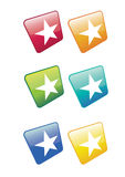 White Star Icons. A set of six white star based web icons or buttons. Set on a rotated axis in various colour ways. For web or print use Royalty Free Stock Photography