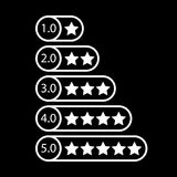 White star rating. Rate system. Feedback concept. Vector illustration on black background Stock Image