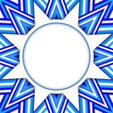 White star text or photo template on ornamental background of blue and white stripes Stock Images