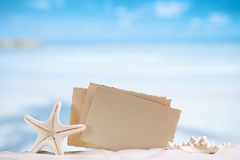White starfish with blank retro photo on white sand beach, sky a Stock Photography