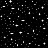 White Stars on Black Background. White stars on a black background. Seamless repeating pattern Royalty Free Stock Image