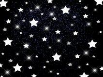 White stars on black background. With sparks, space background, festive stock illustration