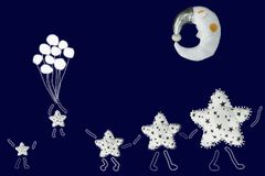 White stars family hold hands and walking under sleeping moon, small star flies with balloons on navy blue background.  Royalty Free Stock Images