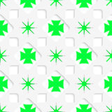 White stars with green inner parts seamless Royalty Free Stock Images