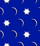 White stars and moons seamless Royalty Free Stock Photo