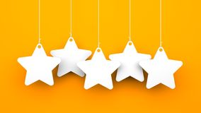 White stars on orange background Stock Images