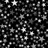 White stars pattern on black background. Outstanding endless random scattered white stars festive pattern. Modern creative chaotic decor. Vector abstract Royalty Free Stock Photo