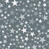 White stars pattern on grey background. Unique endless random scattered white stars festive pattern. Modern creative chaotic decor. Vector abstract stock illustration