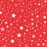 White stars pattern on red background. Good-looking endless random scattered white stars festive pattern. Modern creative chaotic decor. Vector abstract Royalty Free Stock Images