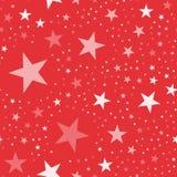 White stars pattern on red background. Lovely endless random scattered white stars festive pattern. Modern creative chaotic decor. Vector abstract illustration Stock Images