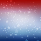 White stars on red white and blue stripes background. Patriotic July 4th Memorial day or Election vote design. White stars twinkling on red white and blue soft Royalty Free Stock Images