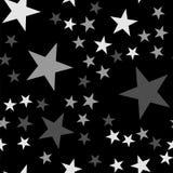 White stars seamless pattern on black background. Stock Image