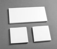 White stationery mock-up template over gray background. Stock Images