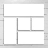 White stationery mock-up template over wooden background. Stock Photography