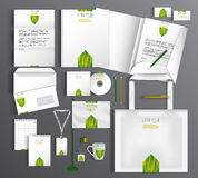 White stationery template design with green and Stock Photo