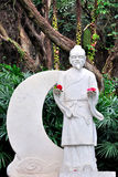 White statue of Chinese folk legend Royalty Free Stock Photo