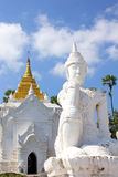 White statue in front of Settawaya pagoda in Mingun Stock Image