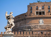 White statue on Saint Angelo Bridge, Rome Royalty Free Stock Photography