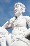 White statue of thai guardian Stock Images