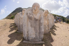 White statues on a sea side at Martinique. Martinique, slave memorial in Le Diamant in West Indies Stock Photos