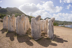 White statues on a sea side at Martinique. Martinique, slave memorial in Le Diamant in West Indies Stock Photo