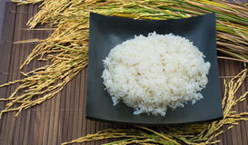 White steamed rice in black bowl Jasmine rice is rice that most celebrated of Thailand. Jasmine rice is rice that most celebrated of Thailand Stock Photo