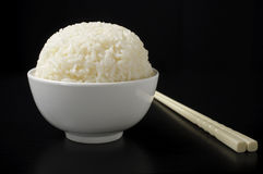 White steamed rice in ceramic bowl Stock Photo