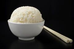 White steamed rice in ceramic bowl Stock Photo