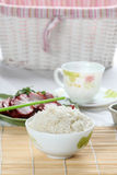 White Steamed rice in white round bowl Stock Images