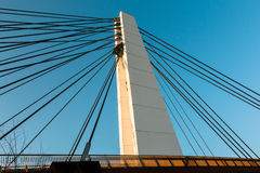 White steel cable bridge in modern architecture style Royalty Free Stock Photography