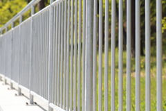 White steel fence railing Stock Images