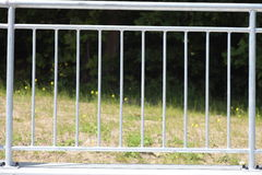 White steel fence railing. Outdoor stock images