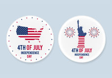 White steel patriotic pin badges set. 4th of july. Independence Day of America. Realistic mockup. White steel patriotic pin badges set. 4th of july Stock Photography