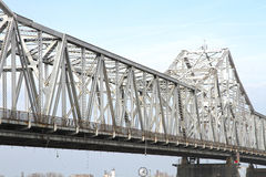 White, Steel Roadway River Bridge. White steel, truss roadway river bridge Royalty Free Stock Image