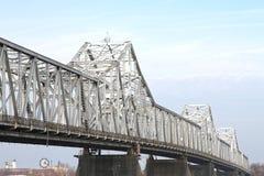 White, Steel Roadway River Bridge. White steel, truss roadway river bridge royalty free stock image