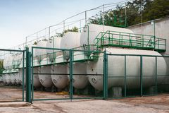 White steel tanks, modern wine factory. Equipment Royalty Free Stock Photos