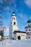 White steeple church with domes Royalty Free Stock Images