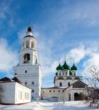 White steeple church with domes Stock Images